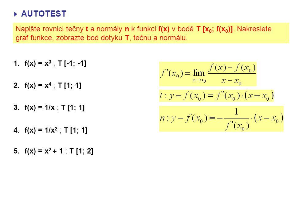  AUTOTEST Napište rovnici tečny t a normály n k funkci f(x) v bodě T [x0; f(x0)]. Nakreslete graf funkce, zobrazte bod dotyku T, tečnu a normálu.
